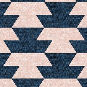 boho geometric aztec in silk pink and denim  - LAD19