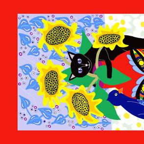 Cat- Bird Folk Art Tea Towel