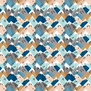 Abstract geometric winter snow topped mountains minimal climbing theme navy cinnamon blue XXS
