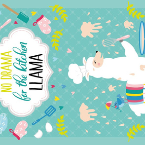 no drama for the kitchen llama ♥ tea towel design