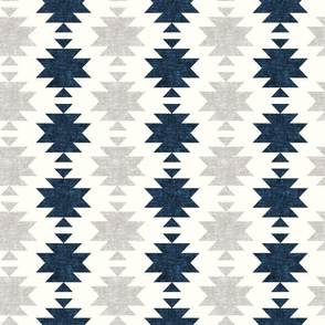 woven aztec - stone and denim blue  - LAD19
