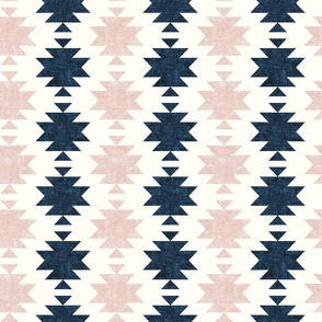 woven aztec - silk pink and denim blue  - LAD19
