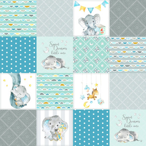 Elephant Quilt Fabric – Baby Boy Patchwork Cheater Quilt Blocks (teal, mint, gray) AB