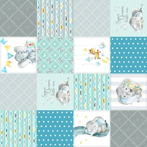Elephant Quilt Fabric – Baby Boy Patchwork Cheater Quilt Blocks (teal, mint, gray) AB rotated