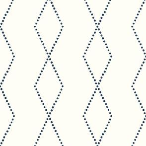 large geometric diamonds - boho - denim on off white - LAD19