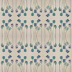Poppies - Teal / Beige