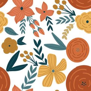 terra cotta & rust  florals - large scale