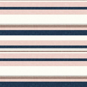(small scale) multi stripes - denim and stone (wild horse coordinate) - LAD19