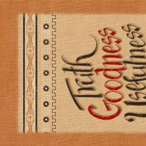 Hand-Lettered Tea Towel - Truth Goodness Usefulness ©Julee Wood