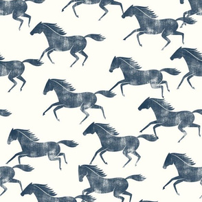 wild horses - denim blue on off white  - LAD19