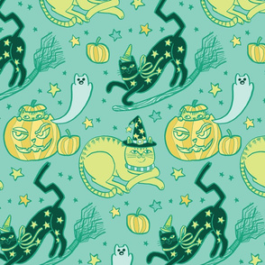 Witchy Cats in Ghost Blue