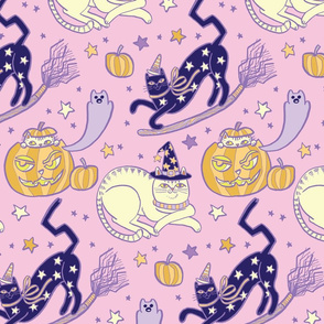 Witchy Cats in Pastel