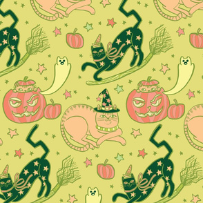 Witchy Cats in Pumpkin