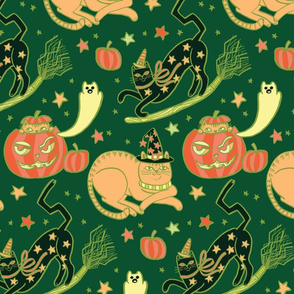 Witchy Cats in Autumn Green