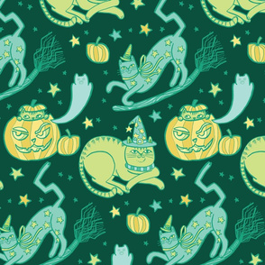 Witchy Cats in Dark Green