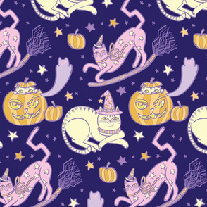 Witchy Cats in Midnight Purple