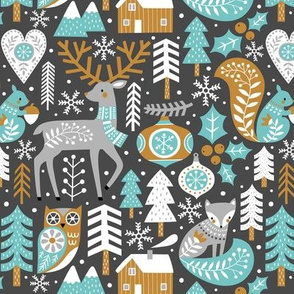 scandinavian christmas - dark grey, small