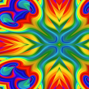 Rainbow Flames Fractal Abstract
