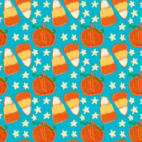 Project 418 | Fall Project Candy Corn on Teal Blue