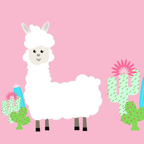 LLAMA cactus- white on pink XL 19