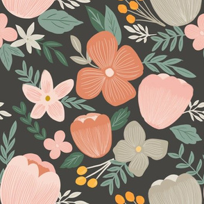 autumn pink florals on charcoal