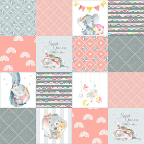 Peach Elephant Quilt Fabric – Baby Girl Patchwork Cheater Quilt Blocks AB