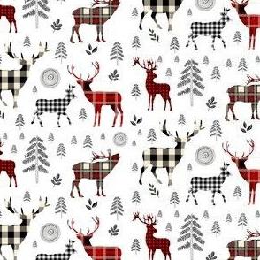 """3.5"""" Woodland Plaid Deer / Black Trees"""