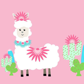 Fancy LLAMA cactus- white on pink XL 19