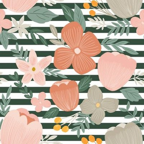 autumn pink  florals on hunter green thick stripes