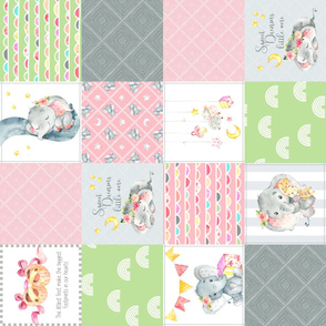 Pink + Green Elephant Quilt Fabric – Baby Girl Patchwork Cheater Quilt Blocks - AC rotated