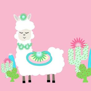 Fancy LLAMA 2 cactus- white on pink XL 19