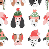 Puppy Dogs in Christmas Hats - large