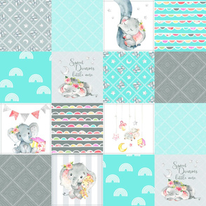 Aqua Elephant Quilt Fabric – Baby Girl Patchwork Cheater Quilt Blocks AD
