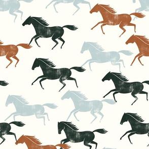 wild horses - multi (ginger, evergreen, light blue)  - LAD19