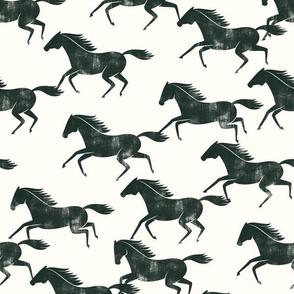wild horses - evergreen on cream - LAD19