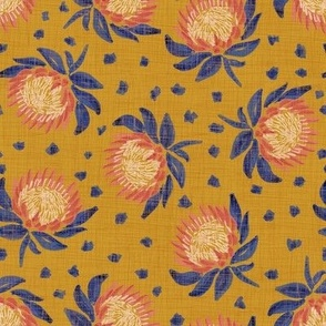 African King Protea (gold linen) 8""