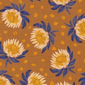 """African King Protea (bronze linen) 9"""""""