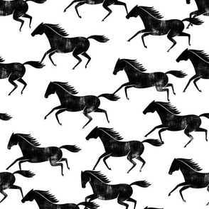 wild horses - black on white - LAD19