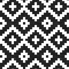 woven aztec - geometric - boho - black and white - LAD19