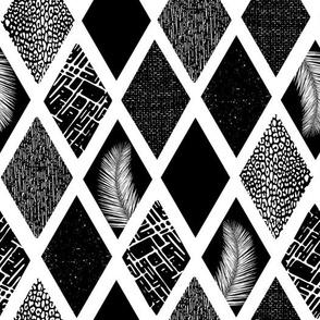 Ikat Tropical Rhombus Shapes Monochrome
