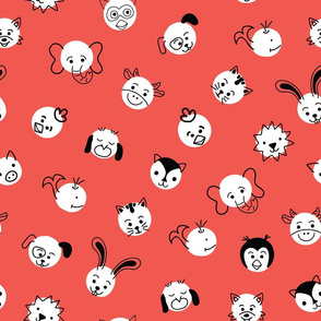 Animal Face Polka Dots Red