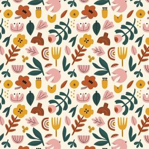Folk pattern in cream
