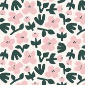 Vintage scandi florals in pink