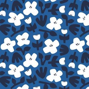 Vintage scandi florals in blue