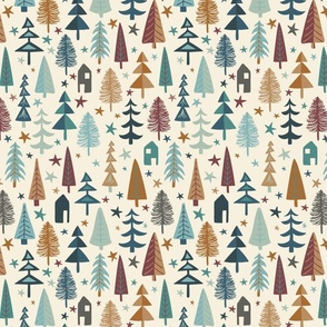 Fir Trees - Small - Teal, Brown