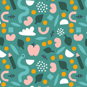 Papercutouts collage pattern in green
