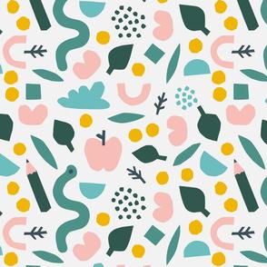 Papercutouts collage pattern in cream