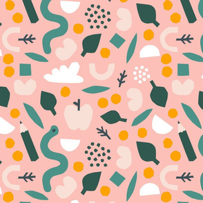 Papercutouts collage pattern in pink