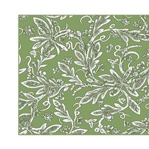 tea towel green chintz