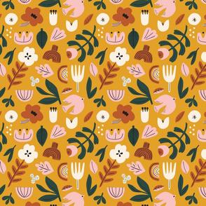 Folk pattern in yellow